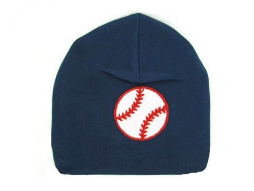 Navy Blue Applique Hat with Baseball