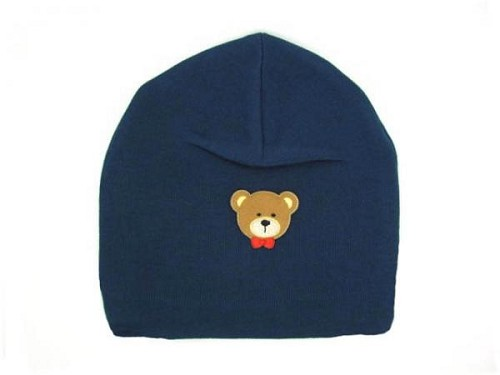 Navy Blue Applique Hat with Bear