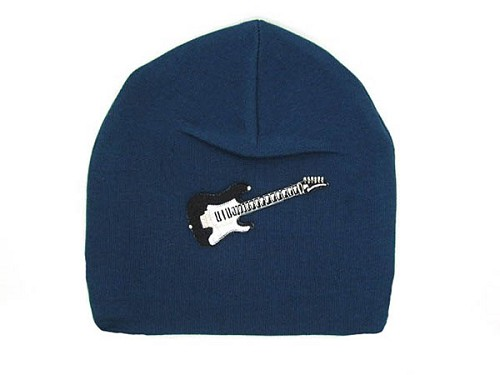 Navy Blue Applique Hat with Black Guitar