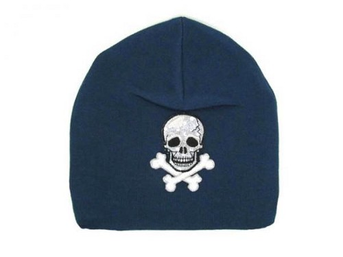 Navy Blue Applique Hat with Black Skull