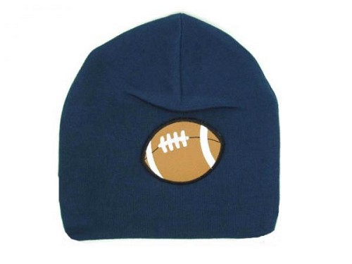 Navy Blue Applique Hat with Brown Football