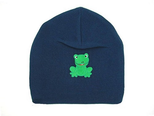 Navy Blue Applique Hat with Frog