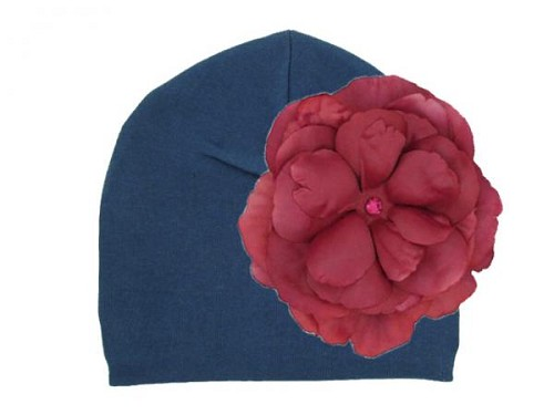 Navy Blue Cotton Hat with Raspberry Large Rose