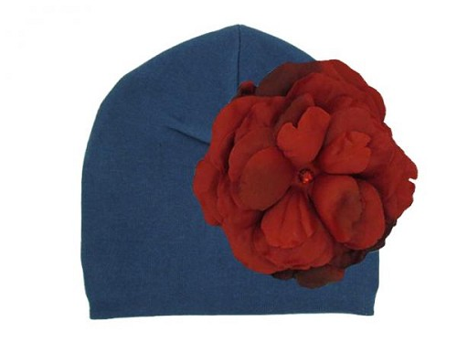 Navy Blue Cotton Hat with Red Large Rose