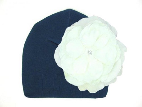Navy Blue Cotton Hat with White Large Rose