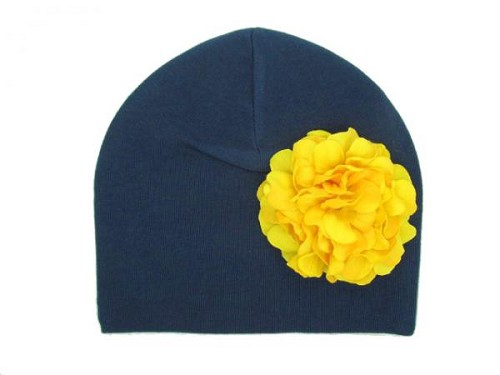 Navy Blue Cotton Hat with Yellow Large Geraniums