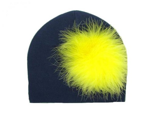 Navy Blue Cotton Hat with Yellow Large regular Marabou