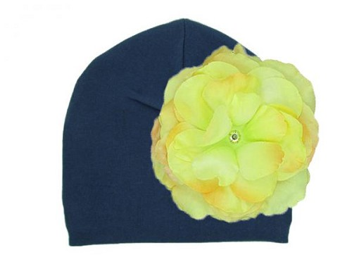 Navy Blue Cotton Hat with Yellow Large Rose