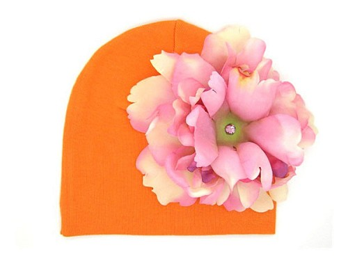 Orange Cotton Hat with Pale Pink Large Peony