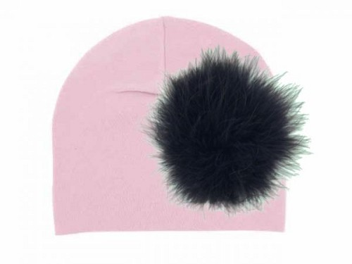 Pale Pink Cotton Hat with Black Large regular Marabou