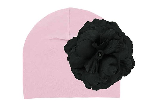 Pale Pink Cotton Hat with Black Large Rose
