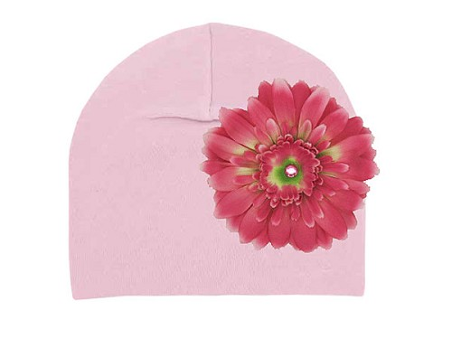 Pale Pink Cotton Hat with Candy Pink Daisy