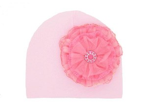 Pale Pink Cotton Hat with Candy Pink Lace Rose