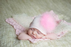 Pale Pink Cotton Hat with Candy Pink Large regular Marabou