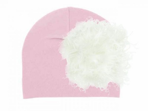 Pale Pink Cotton Hat with Cream Large Curly Marabou