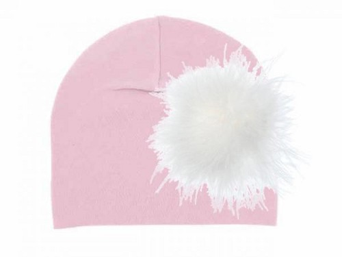 Pale Pink Cotton Hat with Cream Large regular Marabou