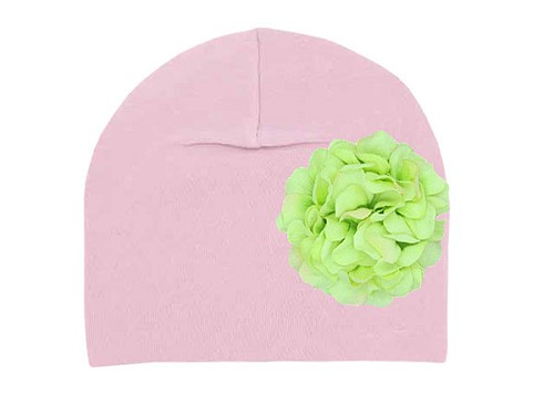 Pale Pink Cotton Hat with Green Large Geraniums
