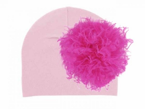 Pale Pink Cotton Hat with Hot Pink Large Curly Marabou