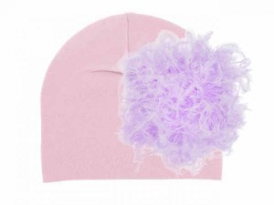Pale Pink Cotton Hat with Lavender Large Curly Marabou