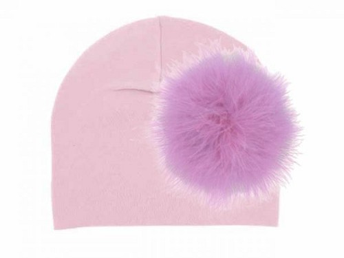 Pale Pink Cotton Hat with Lavender Large regular Marabou