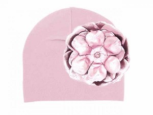 Pale Pink Cotton Hat with Metallic Pale Pink Rose