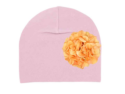 Pale Pink Cotton Hat with Orange Large Geraniums
