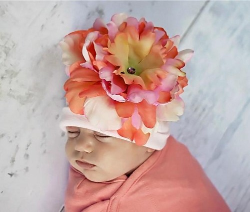 Pale Pink Cotton Hat with Orange Pink Large Peony