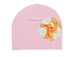Pale Pink Cotton Hat with Orange White Large Geraniums