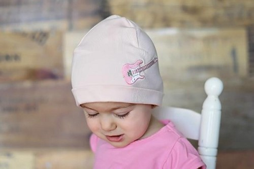 Pale Pink Applique Hat with Pale Pink Guitar
