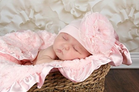 Pale Pink Cotton Hat with Pale Pink Lace Rose
