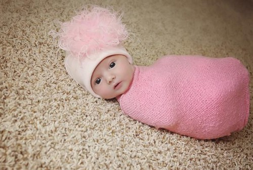 Pale Pink Cotton Hat with Pale Pink Large Curly Marabou