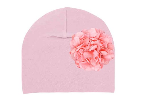 Pale Pink Cotton Hat with Pale Pink Large Geraniums