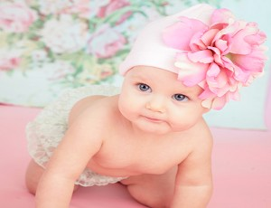 Pale Pink Cotton Hat with Pale Pink Large Peony