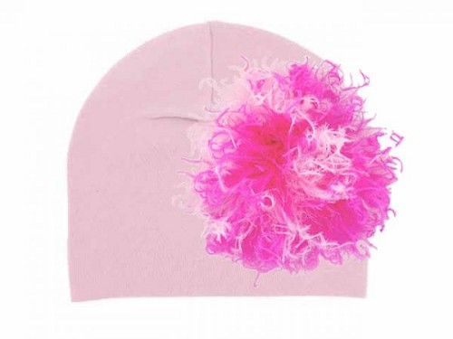 Pale Pink Cotton Hat with Pink Raspberry Large Curly Marabou