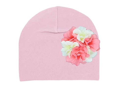 Pale Pink Cotton Hat with Pink White Large Geraniums