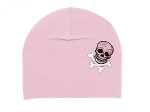 Pale Pink Applique Hat with Pink White Skull