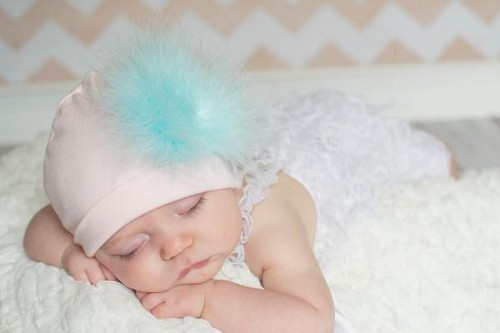 Pale Pink Cotton Hat with Teal Large regular Marabou