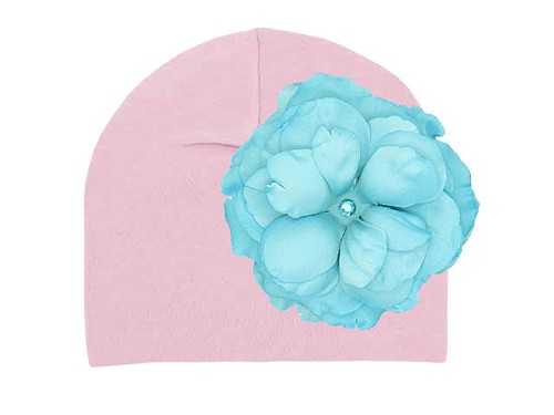 Pale Pink Cotton Hat with Teal Large Rose