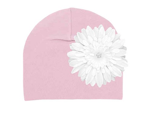 Pale Pink Cotton Hat with White Daisy
