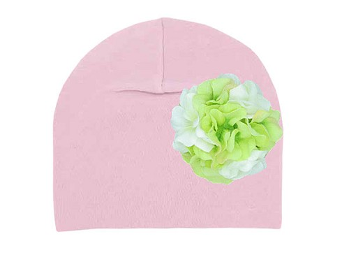 Pale Pink Cotton Hat with White Green Large Geraniums