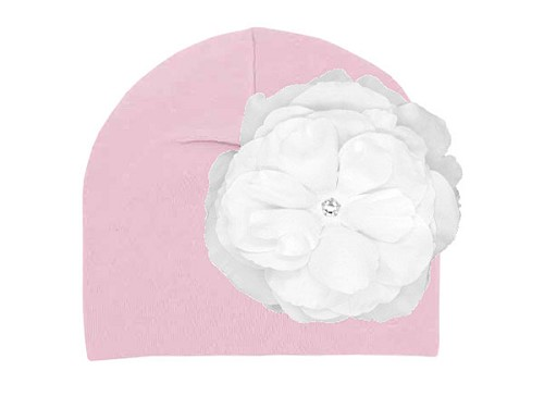 Pale Pink Cotton Hat with White Large Rose