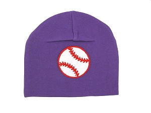 Purple Applique Hat with Baseball