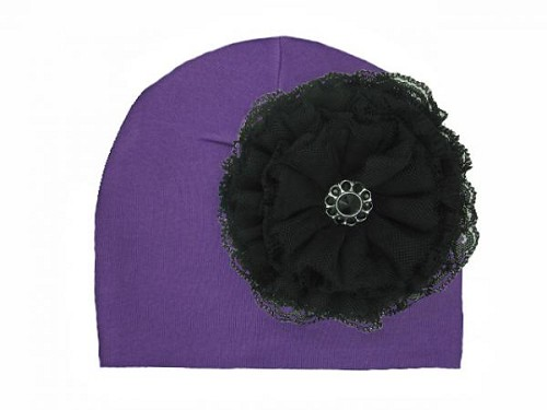Purple Cotton Hat with Black Lace Rose