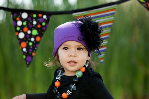 Purple Cotton Hat with Black Large Curly Marabou
