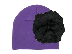 Purple Cotton Hat with Black Large Rose