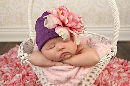 Purple Cotton Hat with Candy Pink Large Peony