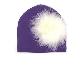 Purple Cotton Hat with Cream Large regular Marabou