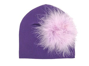 Purple Cotton Hat with Lavender Large regular Marabou