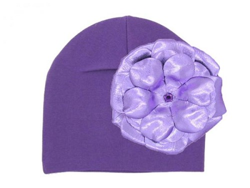 Purple Cotton Hat with Metallic Purple Rose