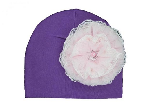 Purple Cotton Hat with Pale Pink Lace Rose